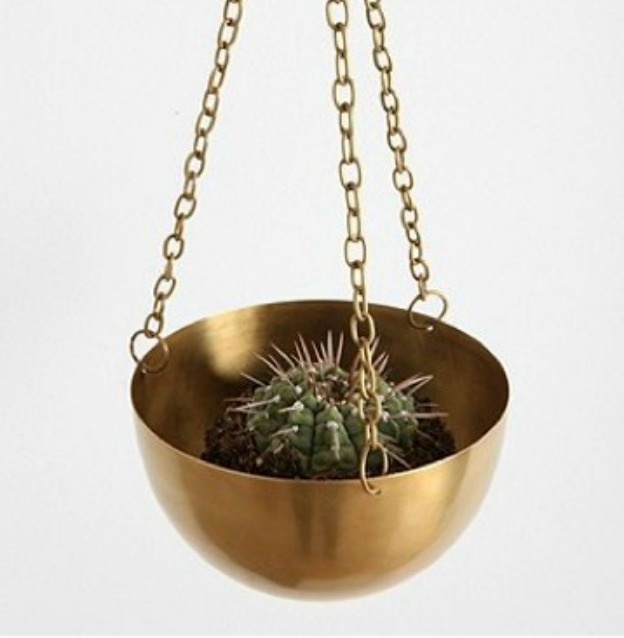 Urban Outfitters Hanging Brass Planter