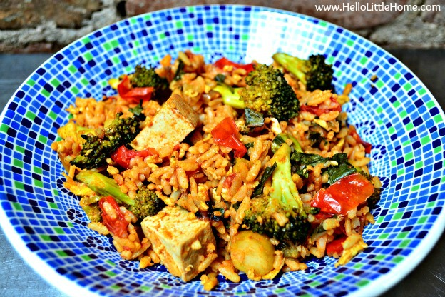 100 Must Try Vegetarian Spring Recipes ... everything from appetizers to main dishes to desserts, including this Spicy Tomato Basil Fried Rice! You're going to want to try each of these amazing vegetarian recipes! | Hello Little Home