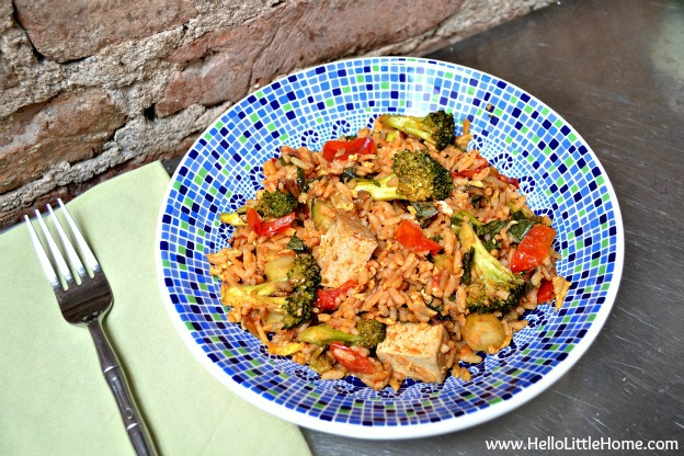 spicy tomato basil fried rice - www.HelloLittleHome.com