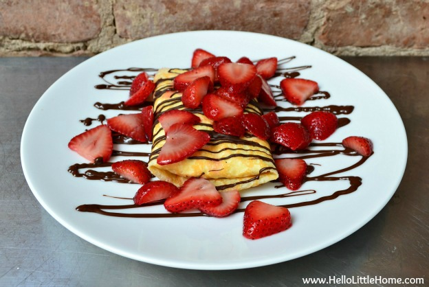 strawberries and cream crepes with chocolate sauce - www.HelloLittleHome.com