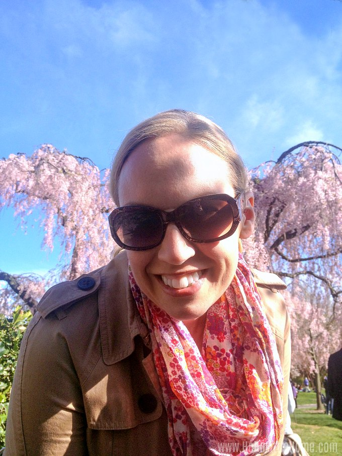 A selfie with the Cherry Blossoms at the Brooklyn Botanic Garden.