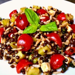 Closeup of Lentil Browl Rice Salad