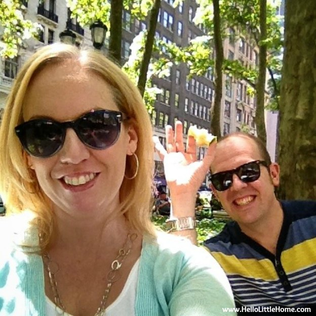 lunch in Bryant Park with my husband