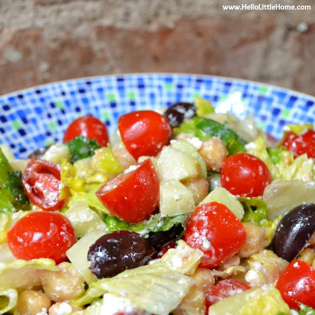 Quick Chopped Salad with Lemon-Basil Vinaigrette