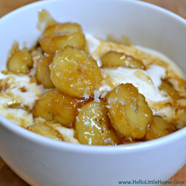 Salted Caramelized Bananas with Ice Cream