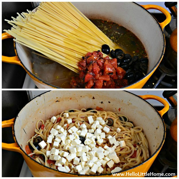 One Pot Pasta with Fire-Roasted Tomatoes, Olives, and Feta