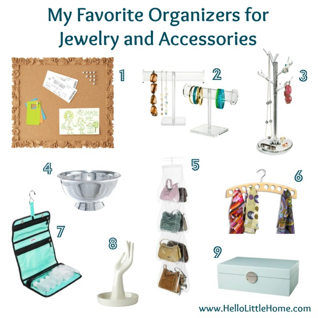 Organizers for Jewelry and Accessories | Hello Little Home #Organization #InteriorDesign