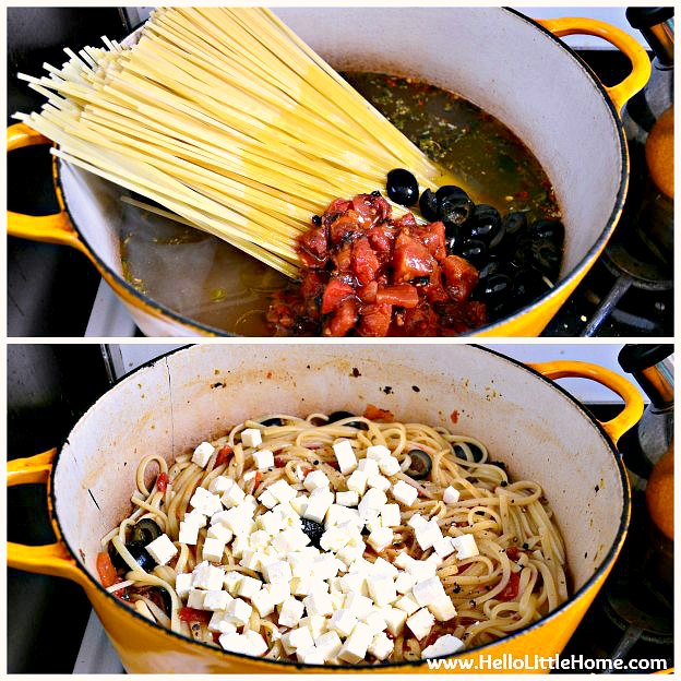 Preparing an easy One Pot Pasta recipe with tomatoes, olives, and feta.
