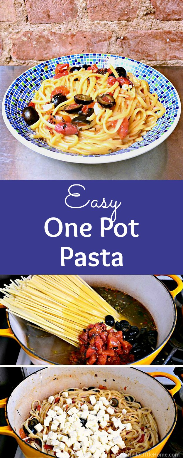 Easy One Pot Pasta recipe … make this simple pasta recipe tonight! This vegetarian One Pot Pasta recipe is made with simple, delicious ingredients: spaghetti or linguine, tomatoes, basil, olive, feta, and more! Your whole family with love this amazing and easy tomato basil One Pot Pasta! | Hello Little Home #pastarecipe #italianfood #italianrecipes #linguine #tomatobasil #onepot #onepotpasta