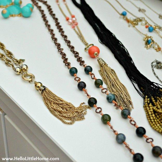 Jewelry Organization: Necklaces | Hello Little Home #InteriorDesign #Decor