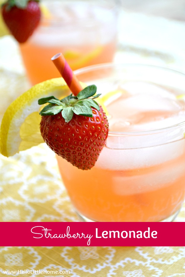The BEST Strawberry Lemonade ... you are going to love it! This fun twist on the classic lemonade recipe is the perfect summer drink. A delicious mix of tart and sweet, this easy Strawberry Lemonade recipe is perfect addition any summer party, BBQ, or just a lazy sunny day! | Hello little Home