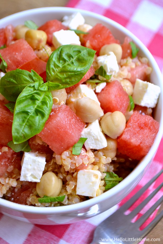 Watermelon Basil Quinoa Salad ... sweet and savory, plus super refreshing, this easy vegetarian salad is the ultimate summer recipe! | Hello Little Home