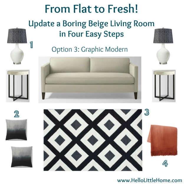 Update a Boring Beige Living Room: Graphic Modern