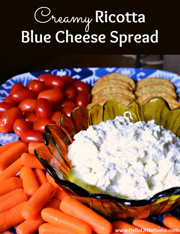 Creamy Ricotta Blue Cheese Spread, the perfect snack or appetizer for parties and holidays! Learn how to make this homemade Blue Cheese Dip from three simple ingredients: ricotta, blue cheese, and garlic. Pair this easy Blue Cheese Spread with crackers, bread, or veggies for any get together. This creamy, cold Ricotta Dip is bursting with bold, delicious flavors you will love! | Hello Little Home #appetizer #dip #diprecipe #spreadrecipe #bluecheese #ricotta #partyfood