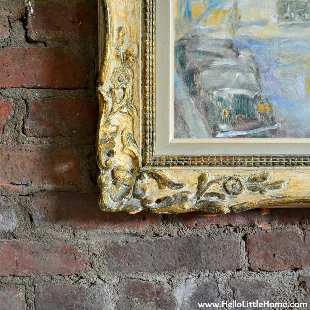 Peek into my home: painting and brick wall