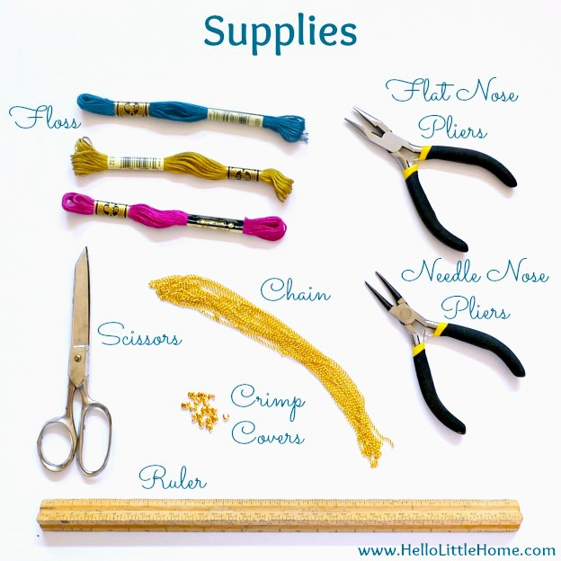 DIY necklace supplies laid out on a white background.
