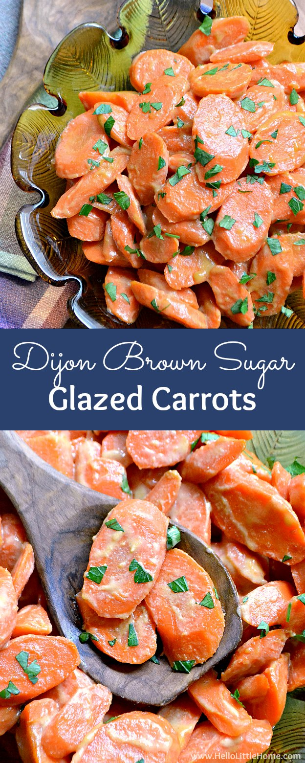 Dijon-Brown Sugar Glazed Carrots ... an easy side dish recipe that pairs perfectly with any meal! This delicious vegetarian vegetable recipe takes minutes to make and is bursting with flavor ... perfect for Easter or any meal! | Hello Little Home