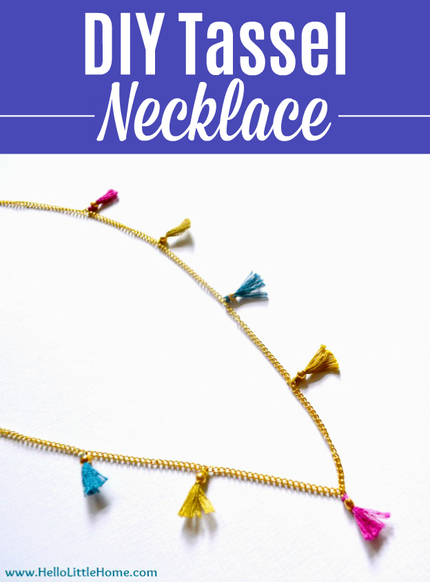 A colorful DIY Tassel Necklace on a white background.