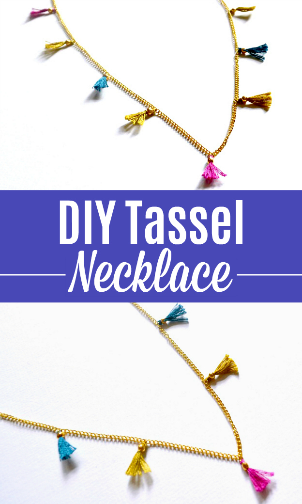 A photo collage showing a DIY Tasseled Necklace from two different angles.