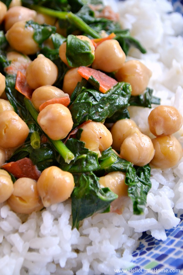 Quick Coconut Curry with Chickpeas and Spinach ... a delicious, fast, and easy vegan weeknight meal recipe! | Hello LIttle Home
