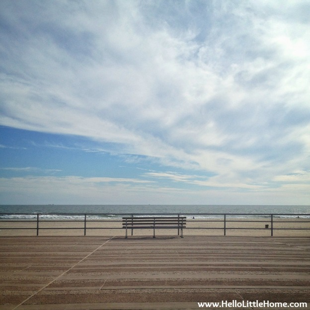 Bench on Rockaway Beach Boardwalk