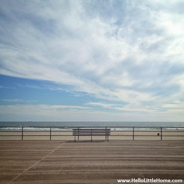 Bench on Rockaway Beach Boardwalk