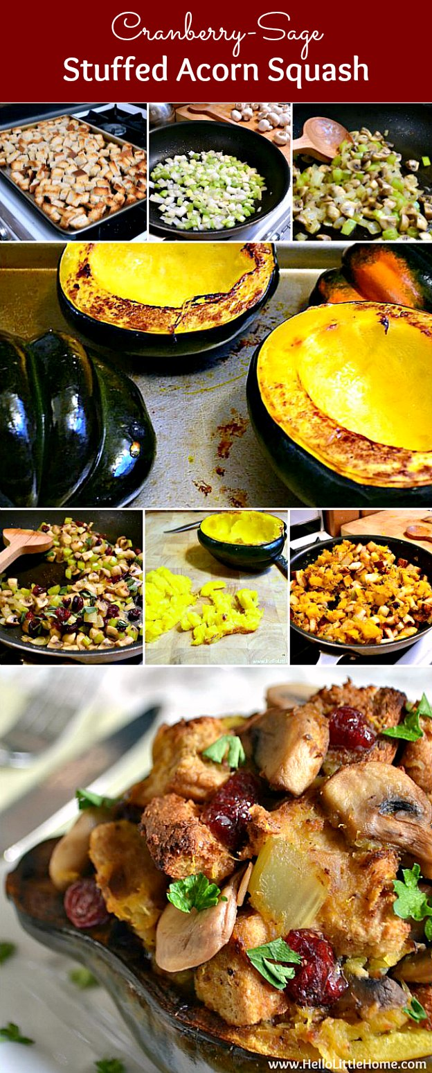 Cranberry-Sage Stuffed Acorn Squash ... this delicious recipe is a wonderful addition to your Thanksgiving or Christmas menu! Serve it as a vegetarian main dish or hearty side dish. | Hello Little Home