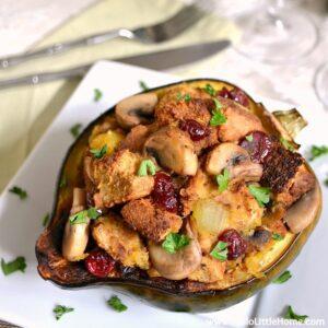 Cranberry Sage Stuffed Acorn Squash
