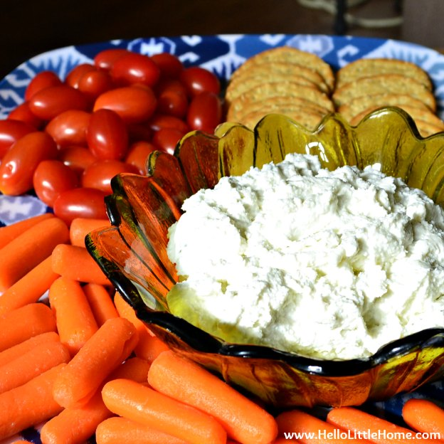 You are going to love this Ricotta Blue Cheese Spread! Get this easy recipe + over 60 more vegetarian summer recipes that are perfect for any occassion! | Hello Little Home