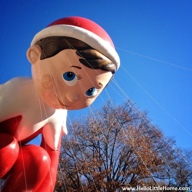 The Elf on the Shelf float in a holiday parade.