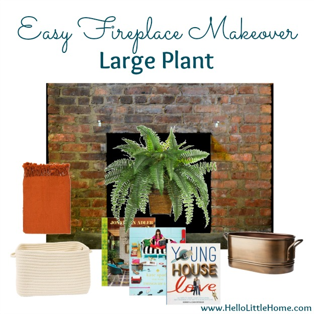 Fireplace Makeover: Large Plant