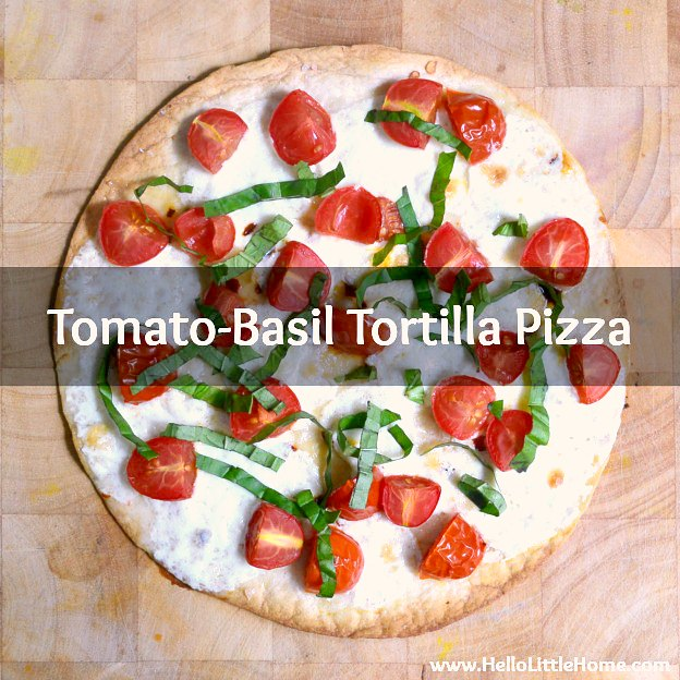 A Margherita Tortilla Pizza with Tomato, Basil, and Mozzarella