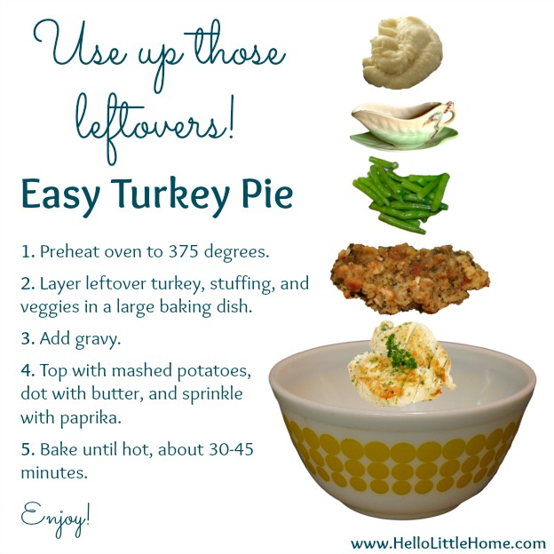 Use up those Leftover: Turkey Pie recipe | Hello Little Home
