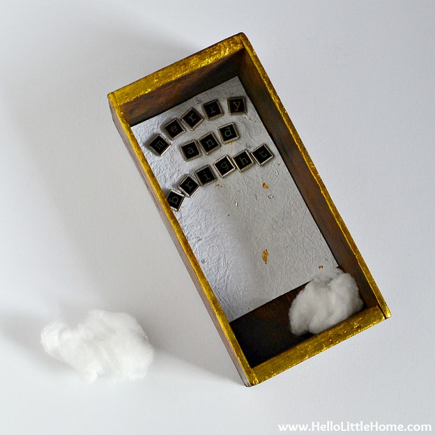 DIY Vintage-Inspired Christmas Shadow Box: Adding Cotton Ball Snow | Hello Little Home