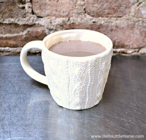 A simple and classic hot chocolate recipe served in a cute mug.