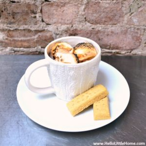 Toasted Marshmallow Hot Chocolate served with shortbread.