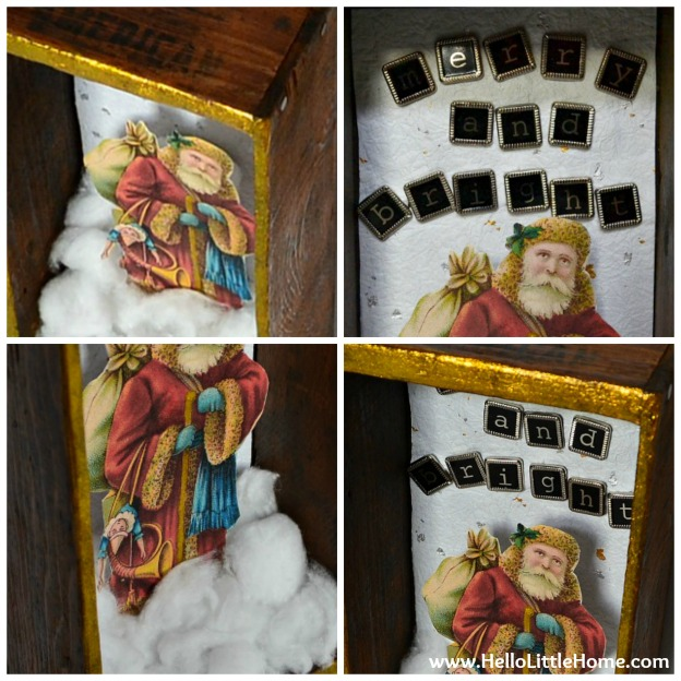 DIY Vintage-Inspired Christmas Shadow Box: Details | Hello Little Home