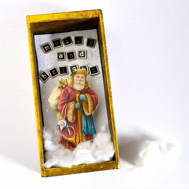 Add cotton ball clouds to the DIY Vintage Shadow Box.