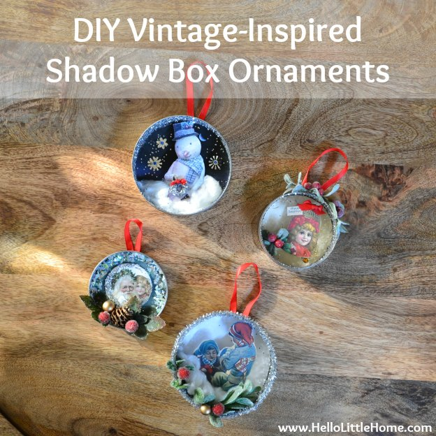 DIY Vintage Shadow Box Ornaments | Hello Little Home