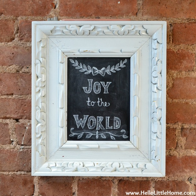 Holiday Apartment Tour: Joy to the World Chalkboard | Hello Little Home