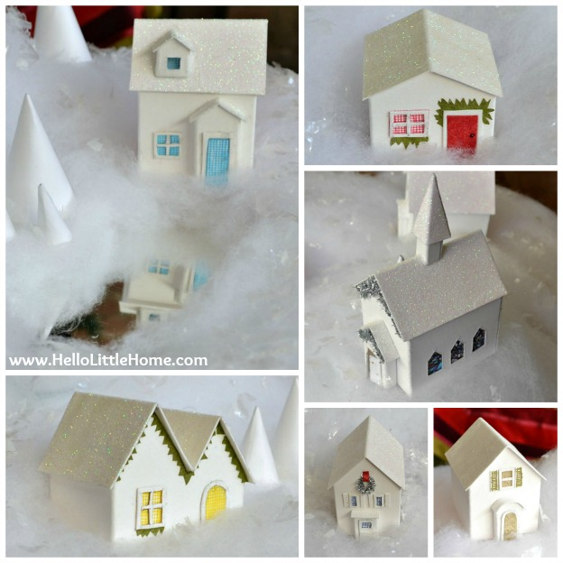 Holiday Apartment Tour: Christmas Village - Closeup of Houses | Hello Little Home