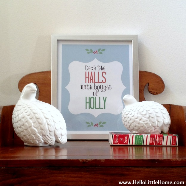 Holiday Apartment Tour: Side Table with Deck the Halls Print | Hello Little Home