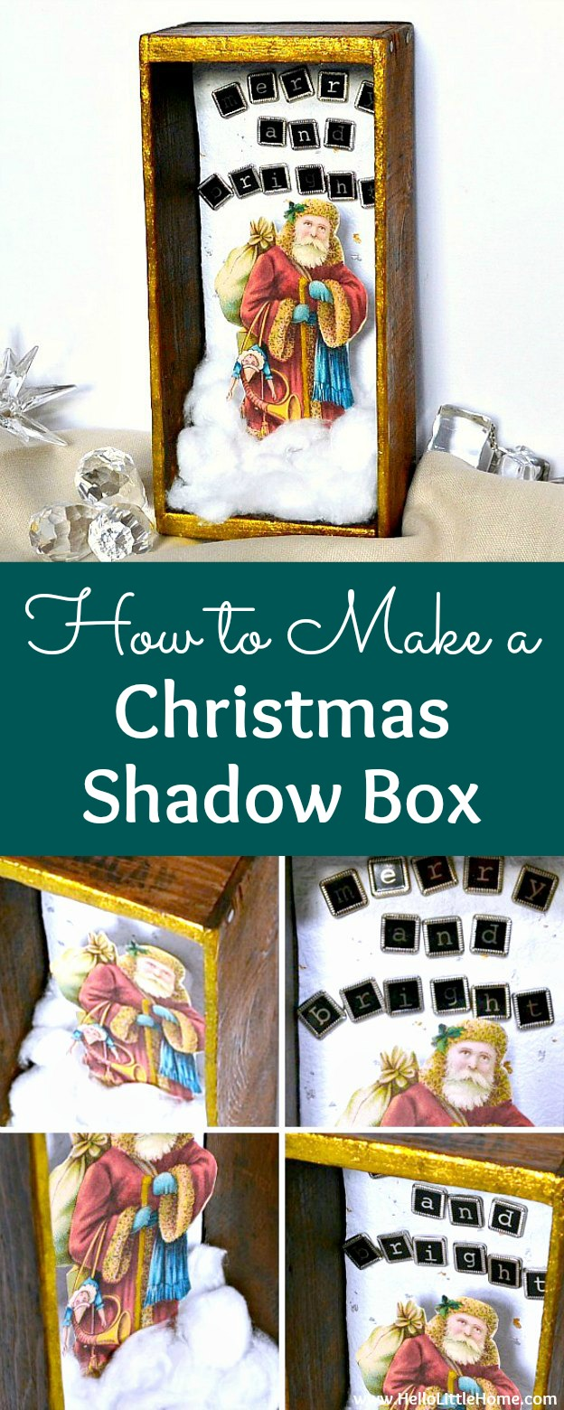 DIY Vintage Inspired Christmas Shadow Box ... learn how to make a Christmas shadow box with this fun and festive tutorial! This DIY Christmas Shadow Box features vintage Santa clip art, a holiday message, and faux snow in a cute holiday diorama. An easy Christmas craft idea is fun for moms and kids alike and makes a great homemade Christmas decoration! | Hello Little Home