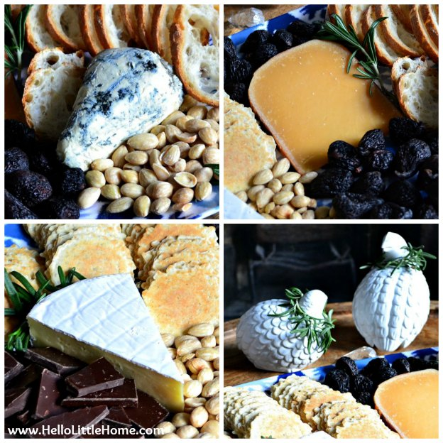 Luxe cheese tray with St. Agur blue cheese, aged Gouda, and double-cream Brie | Hello Little Home