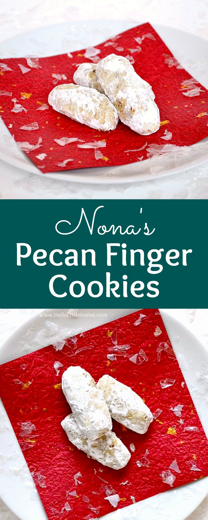 Nona's Pecan Finger Cookies ... learn how to make this traditional pecan fingers cookie recipes that's been handed down for generations! These classic Pecan Cookies feature a buttery, pecan filled dough that gets rolled in powdered sugar after it's baked. Sometimes called Pecan Crescent Cookies, Lady Fingers, or even Nutty Fingers, these Christmas cookies are a hit every holiday season. | Hello Little Home