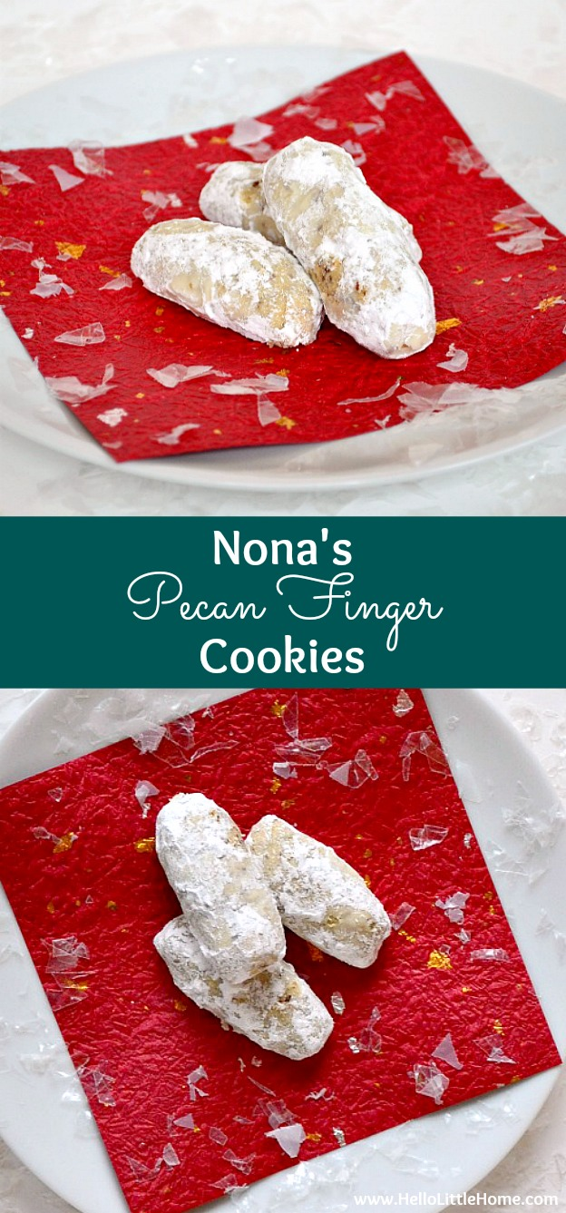 Nona's Pecan Finger Cookies ... get the recipe for my all-time favorite holiday treat! These classic Christmas cookies come straight from my grandmother's cookbook! | Hello Little Home