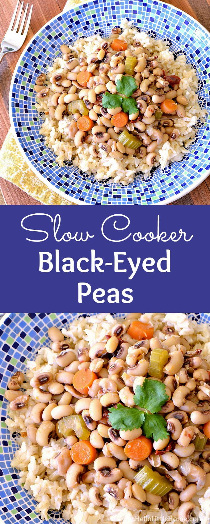 Easy Crock Pot Black Eyed Peas! Make these delicious vegetarian black eyed peas for New Year's Day or anytime! Learn how to cook Southern style black eyed peas in your slow cooker. Serve these vegan black eyed peas for a healthy meat free meal. These spicy black eyed peas from scratch (Hoppin' John), make a delish meatless dinner served with cornbread and collard greens. | Hello Little Home #blackeyedpeas #hoppinjohn #veganrecipes #vegetarianrecipes #slowcookerrecipes #crockpotrecipes