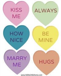 DIY Conversation Heart Banner Printables | Hello Little Home