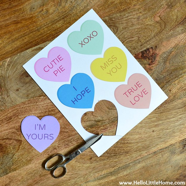 DIY Conversation Heart Banner: Cut Out the Hearts | Hello Little Home