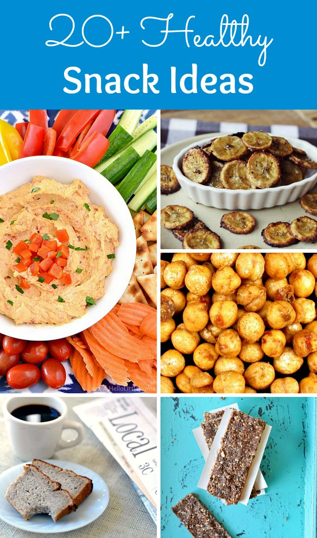 20 Healthy Snack Ideas! These yummy Snacks are great for vegan, vegetarian, gluten free, and clean eating diets, or anyone who is on the go and trying to snack healthy or lose weight. You're going to love these easy Snack Recipes! | Hello Little Home #snackideas #snackrecipes #healthysnacks #healthysnackideas #vegetarianrecipes #veganrecipes #snacks